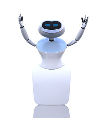 Front view of humanoid robot isolated on white background. 3D rendering image.