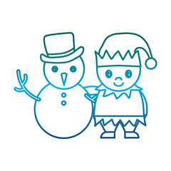 snowman and santa helper icon over white background vector illustration