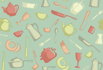 Retro seamless background of kitchen ware