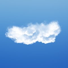 Cloud isolated over blue sky background 3D illustration, single cloud shape rendering