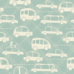 Cartoon cute car seamless pattern background