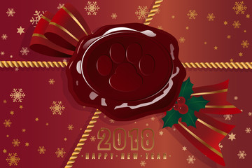 Beautiful wax seal in the in the form of an imprint of a dog with a red ribbon and a gold rope on the new year package