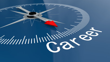 Blue compass with Career word