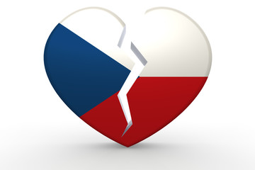 Broken white heart shape with Czech Republic flag