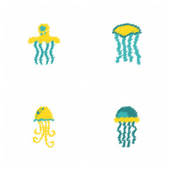 Jellyfish vector collection in Hatching style