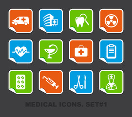 Pharma and Healthcare icons on stickers