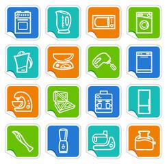 Kitchen home appliances on stickers