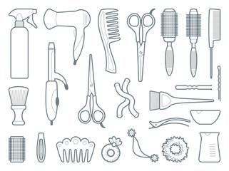 Hairdresser accessories. Vector illustration