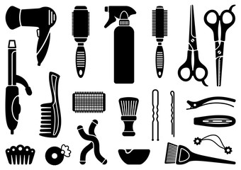 Hairdressers accessories. Vector illustration