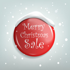 Christmas Sale. Red Realistic Badge. Vector illustration