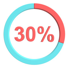 30 percent blue red and white pie chart. Percentage vector infographics. Circle diagram business illustration