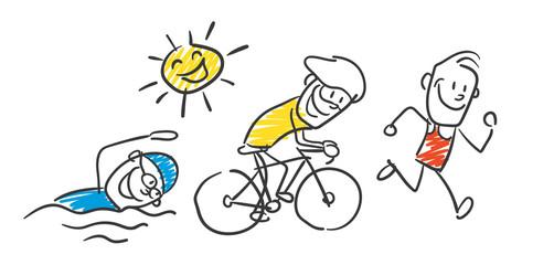 Strichfiguren Triathlon