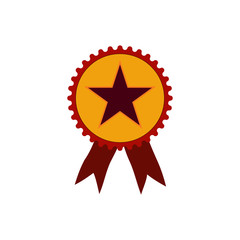 Winning ribbon with star isolated vector