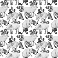 Pig wild animal pattern in a watercolor style. Full name of the animal: piggy. Aquarelle wild animal for background, texture, wrapper pattern or tattoo.