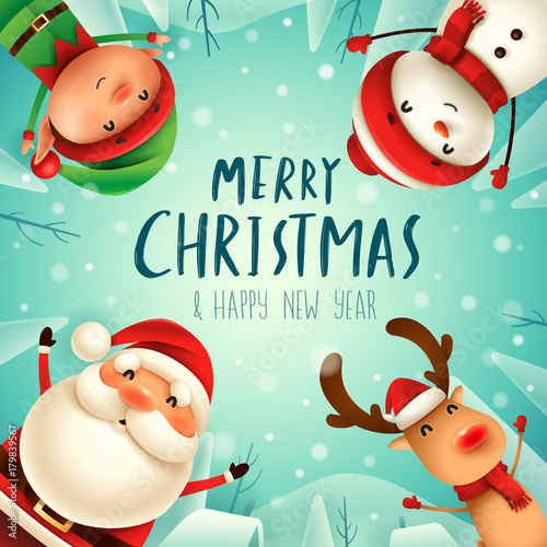 merry christmas happy christmas companions santa claus snowman reindeer and elf in - Images Merry Christmas
