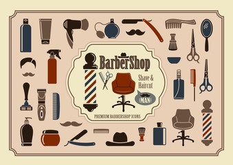 Barbershop icons. Vector illustration