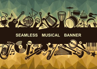 Banner with musical instruments