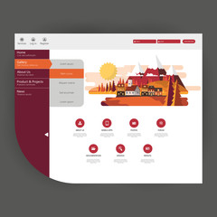 Flat Trendy New Website Template with Abstract Flat Landscape Illustration.