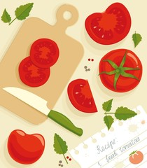 Composition from the fresh whole and cut tomatoes.