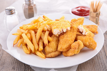 fried chicken fillet and french fries
