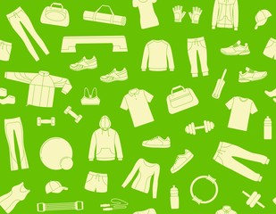 Seamless background with clothes and accessories for fitness