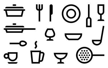 Simple symbols of cookery, kitchen utensils and cutlery