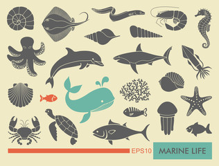 Marine life icons