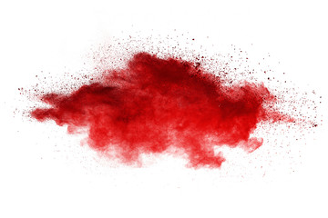 Splash of red powder over white background.