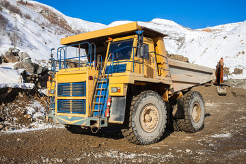 Dump truck with ore in a mine