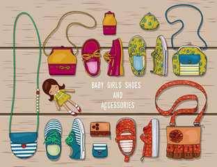 Illustration of a set of accessories for girls. Shoes, purses and bags for girls