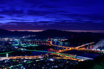 広島の夜景 黄金山からの眺め