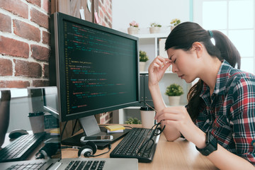 young beautiful woman programmer using computer