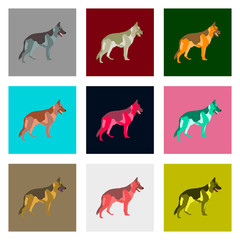 Set of vector illustration in flat style German Shepherd