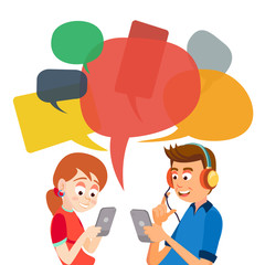 Teen Girl And Boy Messaging Vector. Communicate On Internet. Chatting On Network. Using Smartphone. Chat Bubbles. Social Media Addiction Concept Illustration