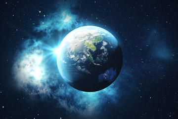 3D Rendering World Globe from Space in a Star Field Showing Night Sky With Stars and Nebula. View of Earth From Space. Elements of this image furnished by NASA