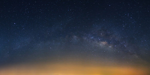Panorama Milky way galaxy bridge as seen from thailand on a clear summer night.