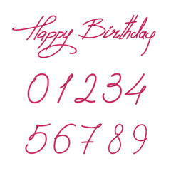 Happy birthday hand drawn text with numbers