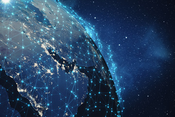 3D Rendering Global Network Background. Connection Lines with Dots Around Earth Globe. Global International Connectivity. Earth from Space With Stars and Nebula. Elements of this image furnished by