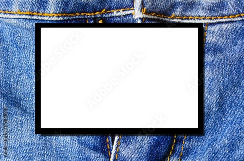 blank advertising billboard or television screen with blue denim