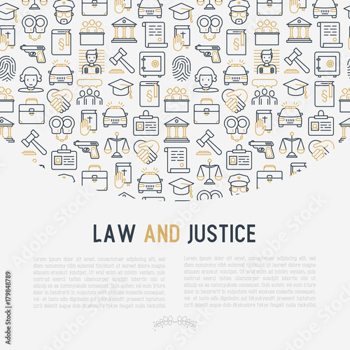 Law And Justice Concept With Thin Line Icons Judge Policeman