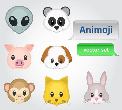 Animoji for karaoke, 7 various animal characters vector set