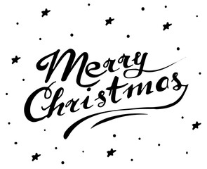 Brush сalligraphy with an inscription Merry Christmas. Isolated lettering. Hand drawn greeting card