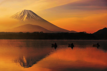 Lake shoji at sunrise with Mt. Fuji