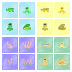 Seabed vector stock collection in Hatching style