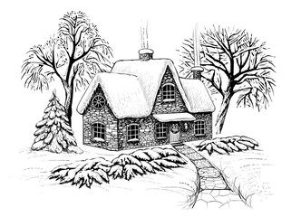 Winter christmas landscape with house, trees and fir in the snow. Engraving vintage style.