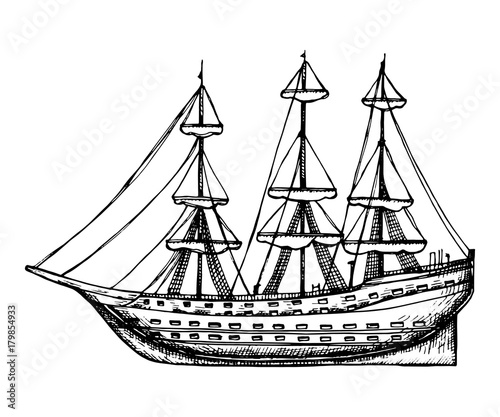 Ship Vintage Wooden With Sails Vector Sketch Hand Drawing Isolated Illustration On White Background