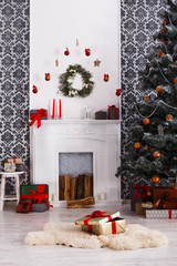 Christmas gifts under tree, holiday concept
