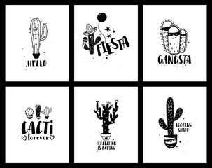 Graphic Set Of Funny Cacti Cards And Lettering.