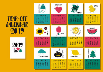 Calendar 2019 With Funny Illustrations.