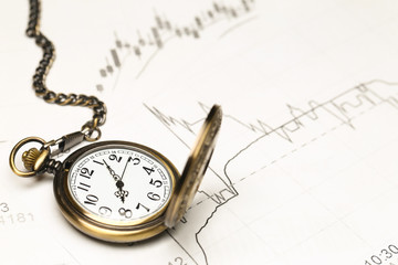 retro pocket watch on stock market chart